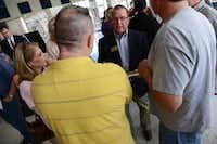 Rockwall County Commissioner David Magness talks to residents about the proposed expansion project of FM 552(Rose Baca - neighborsgo staff photographer)