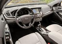 Inside the 2014 Kia Cadenza, the center stack and its navigation screen were more subtle than some that you'll find in Hyundais and Fords.