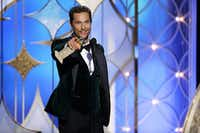 """Matthew McConaughey accepted the award for best actor in a motion picture drama for his role in """"Dallas Buyers Club"""" during the 71st annual Golden Globe Awards at the Beverly Hilton Hotel on Sunday, Jan. 12, 2014, in Beverly Hills, Calif.(Paul Drinkwater - AP/NBC)"""