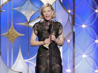 """Cate Blanchett accepted the award for best actress in a motion picture drama for her role in """"Blue Jasmine"""" during the 71st annual Golden Globe Awards at the Beverly Hilton Hotel on Sunday, Jan. 12, 2014, in Beverly Hills, Calif.(Paul Drinkwater - AP/NBC)"""
