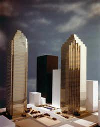 This artist's rendering shows the original plans for InterFirst Plaza, which included twin towers, a 600-room hotel and parking garage. The glass skin was originally planned to be silver with gold stripes to resemble a Rolex watch. But hard economic times caused developer Bramalea Texas Inc. to go with cheaper glass. Only the first tower and parking garage were built; the building on the far left is now Bank of America Plaza.( Courtesy photo )
