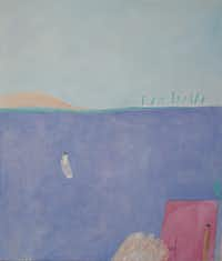 "Joy Laville,"" """"Man Leaving in a Boat""( McKinney Avenue Contemporary )"