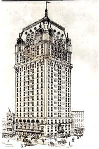 Early drawing of Dallas' Adolphus Hotel built by St. Louis beer baron Adolphus Busch.
