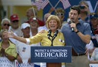 Paul Ryan introduced his mother, Betty Ryan Douglas, to voters at an August campaign rally in The Villages, Fla.