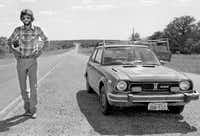 In 1979,   News  photographer Randy Eli Grothe captured this shot of Steve as they teamed up on a series about State Highway 16, the longest highway in Texas.(File Photo - Staff)