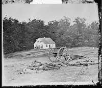 Confederate dead lie in front of the Dunker church on the Antietam battlefield in Antietam, Maryland, September 1862.