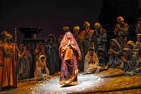"""""""The Pearl Fishers"""" is part of the 2014 Fort Worth Opera Festival. Here, Leila (Hailey Clark) vows to remain veiled and pure while she prays for the pearl fishermens' safety.(APPEL)"""