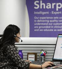Jenna Anaya is among 400 workers at Teladoc's operations center in Lewisville, where the call center often handles 3,000 visits a day. The firm has about 625 employees.( David Woo  -  Staff Photographer )