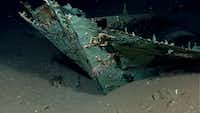 This photo provided by the NOAA Okeanos Explorer Program shows oxidized copper hull sheathing and possible draft marks visible on the bow of wrecked ship in the Gulf of Mexico about 170 miles from Galveston, Texas. Officials with Texas A&M University at Galveston and Texas State University say the recovery expedition of the two-masted ship that may be 200-years-old, concluded Wednesday. Theyve   been able to recover some items like ceramics and bottles, including liquor bottles, and an octant, a navigational tool. Other items spotted among the wreckage are muskets, swords, cannons and clothing.   (AP Photo/NOAA Okeanos Explorer Program)