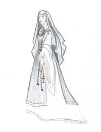 "One of Austin Scarlett's sketches for the Fort Worth Opera production of ""With Blood, With Ink,"" set to debut in April 2014.(Rasy Ran/Fort Worth Opera)"