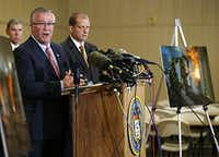 The ATF's Robert Elder, special agent in charge, spoke to the media during a news conference in West on Wednesday. (Vernon Bryant/The Dallas Morning News)