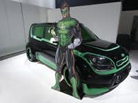 The Green Lantern-wrapped Kia Soul.