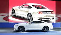 The 2015 Ford Mustang 50 Year Limited Edition is introduced at the 2014 New York International Auto Show at the Javits Convention Center, Wednesday, April 16, 2014, in New York. (AP Photo/Richard Drew)Richard Drew - AP