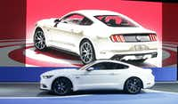 The 2015 Ford Mustang 50 Year Limited Edition is introduced at the 2014 New York International Auto Show at the Javits Convention Center, Wednesday, April 16, 2014, in New York. (AP Photo/Richard Drew)(Richard Drew - AP)