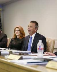 Mayor Todd Meier, with Mayor Pro Tempore Janelle Moore at a council meeting, says the audit was not intended to cast blame on the town's past management. (2015 File Photo/Kye R. Lee)