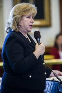 Sen. Jane Nelson, R-Flower Mound, talks about the senate budget, written by Nelson, during the final days of the 84th Texas legislature regular session on Friday, May 29, 2015 at the Texas state capitol in Austin, Texas. (Ashley Landis/The Dallas Morning News)