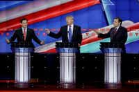 From left, Republican presidential candidate, Sen. Marco Rubio, R-Fla., Republican presidential candidate, businessman Donald Trump and Republican presidential candidate, Sen. Ted Cruz, R-Texas, speak and gesture during a Republican presidential primary debate at The University of Houston, Thursday night. (AP Photo/David J. Phillip)