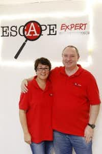 Andrew and Traci McJannett-Smith, husband and wife and co-owners of Escape Expert (Michael Reeves/Staff photo)