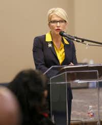 Dallas District Attorney Susan Hawk hosts her first town hall meeting in February at Concord Baptist Church in Dallas, Texas. (Ashley Landis/The Dallas Morning News)