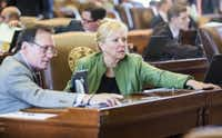 Rep. John Zerwas, M.D., R-Richmond, and Rep. Myra Crownover, R-Denton, vote on legislation during the final days of the 84th Texas legislature regular session on Saturday, May 30, 2015 at the Texas state capitol in Austin, Texas. (Ashley Landis/The Dallas Morning News)