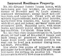 An ad for the house that appeared in The Dallas Morning News on May 8, 1887, as discovered by