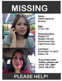 Josandy Alvarez, 17, prepared this poster seeking the public's help in finding her missing mother, Adalid Alvarez.