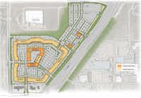 Existing buildings are in yellow. New buildings are in orange. The area to the north will have 1,300 additional parking spaces and pads for restaurants and a hotel. The main center additions and the new parking are expected to be completed by fall 2017. The additional hotel and restaurants north of the center may take longer to complete.