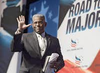 Former Florida congressman Allen West, seen at a Faith and Freedom Coalition event in June, says the only running he does these days is for his health.(The Associated Press )
