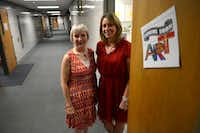 Shugart Elementary School principal Kelly Williams (right) and Garland ISD fine arts coordinator Brenda Hass stand in the doorway of the school's new art room.Photo by ROSE BACA - neighborsgo staff photographer