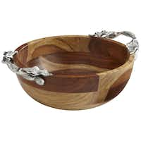 LEAF BRANCH WOOD SERVE BOWL