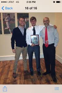 J.J. Pearce varsity soccer co-captain James Valley (middle) was named the inaugural recipient of the Rob Harper Memorial Award on April 28. Also pictured are Rob's son Will Harper (left) and head soccer coach Sean Dowlatshahi (right).Photo submitted by SEAN DOWLATSHAHI