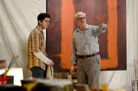 "Kieran Connolly (right), as Mark Rothko, and Jordan Brodess, as Ken, rehearse the Dallas Theater Center production of ""Red,"" which runs through March 24, at the Wyly Theatre."