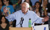 In this photo taken Oct. 9, 2015, Democratic presidential candidate Sen. Bernie Sanders of Vermont speaks in Tucson, Ariz. (AP Photo/Rick Scuteri)