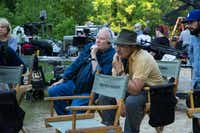 Author Joe Lansdale  (left, with series executive producer Nick Damici) on the set of  Hap and Leonard .(Sundance TV)