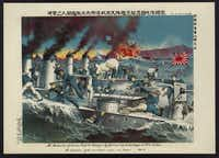 A 1904 print shows sailors from the Japanese torpedo boat Sazanami  boarding a Russian torpedo boat during a heated sea battle of the Russo-Japanese War.