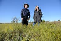 John Lingenfelder and Carol Clark are among a group of environmentalists who advocated to protect a seven-acre blackland prairie in Planp after the city announced a two-day music festival scheduled for the spring. But Lingenfelder that he's no longer concerned for the prairie's future. By the end of the year, the city plans to install a split rail fence around six acres of the park's most defined prairie land.( ROSE BACA )