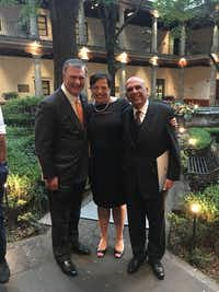 At the reception in Mexico on Monday night: Dallas Mayor Mike Rawlings; Amy Lewis Hofland, Executive Director of the Crow Collection of Asian Art; and Ambassador Jorge Alberto Lozoya, Secretary of Arts and Culture of the State of Puebla.