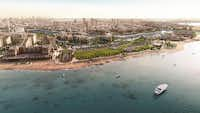 An artist's rendering shows the Bay La Sun District in King Abdullah Economic City, which is expected to eventually be home to 2 million people and a destination resort.King Abdullah Economic City