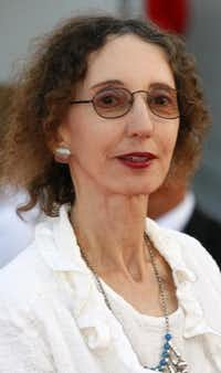 "In this Sept. 9, 2010 file photo, U.S. writer Joyce Carol Oates arrives for the screening of the film "" Fair Game "" at the 36th American Film Festival in Deauville, Normandy, France."