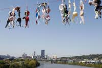 A portion of the bras hung across the Hot Metal Bridge over the Monongahela River. Aerie, a bra company that's part of Pittsburgh-based American Eagle Outfitters, has a current breast cancer campaign: where this steel bridge in the city has been draped in thousands of bras, to heighten breast cancer awareness awareness. Aerie said $1 from every sale during October will be donated to a breast cancer charity, up to $50,000.