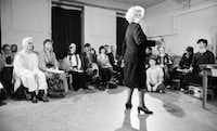 "Stella Adler addressing actors at the Stella Adler Studio of Acting in Chelsea in New York in 1984. When he has heard Stanley Kowalski bellow ""Stella!"" with caveman ferocity, Tom Oppenheim has wondered whether Tennessee Williams chose the name as an insider's bouquet to Stella Adler, Oppenheim's grandmother and the renowned acting teacher who led Marlon Brando to the Method. Oppenheim is understandably saturated in his family's legacy. He is the fourth generation of Adlers in the theater, a dynastic stretch that gives them bragging rights alongside the Barrymores."