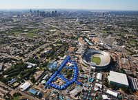 High above Fair Park for the State Fair of Texas ... for now. I kid. (Louis DeLuca/Staff photographer)