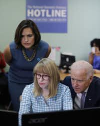 Vice President Joe Biden and actress Mariska Hargitay (left) visited the headquarters of the National Domestic Violence Hotline on Wednesday in the Austin suburb of West Lake Hills to help commemorate National Domestic Violence Awareness Month.