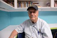 Bob Jagers, 91, a World War II Navy veteran and author, tutors students at Bea's Kids.(ROSE BACA)