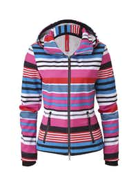 Bogner's Naila Softshell Jacket - This colorful softshell jacket, part of Bogner's new Fire+Ice 2013/2014 collection, looks as fashionable in the city as on the slopes. It has a multi-stripe pattern, a high collar to keep out the wind and cold, and a hood.