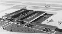 The original architectural rendering of Braniff's base of operations on Lemmon Avenue