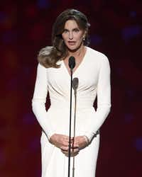 Caitlyn Jenner accepts the Arthur Ashe award for courage at the ESPY Awards at the Microsoft Theater in Los Angeles last year.( Chris Pizzello  -  Chris Pizzello/Invision/AP )
