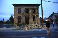 A building housing a wine bar in Napa, Calif., sustained heavy damage in a 6.0 magnitude earthquake that hit the San Francisco Bay Area around 3:20 a.m. on Aug. 24, 2014. Centered about six miles south of Napa, the quake was the most powerful in the area since the Loma Prieta quake of 1989, which collapsed the Bay Bridge. (Jim Wilson/The New York Times)JIM WILSON - NYT
