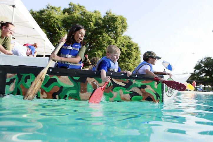 Photos Cardboard Boats Races Float Sometimes Across Samuell Grand Pool Dallas News