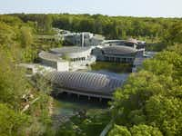 An aerial view of Crystal Bridges Museum of American Art in Bentonville, Arkansas. Photography  by  Timothy Hursley, courtesy of Crystal Bridges Museum of American Art, Bentonville, AR